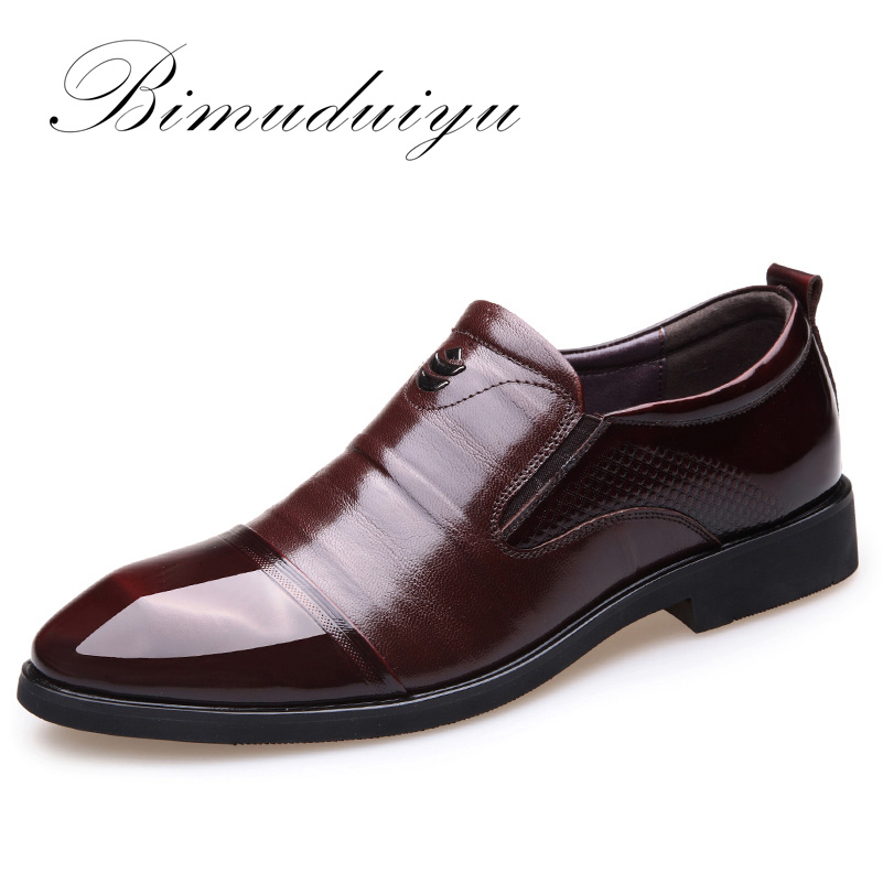 BIMUDUIYU Luxury brand New Men Dress Slip on Black Brown Oxford Shoes Genuine Leather Business Casual