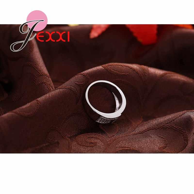 Mới Nhất Hình Học Thiết Kế Unisex Pha Lê Bạc 925 Nhẫn Cho Nữ Và Nam Thời Trang Anillos Trang Sức