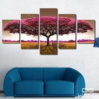 5 패널 인쇄 레드 트리 아트 풍경 풍경 사진 큰 캔버스 그림 침실 거실 홈 벽 예술 꽃 페인