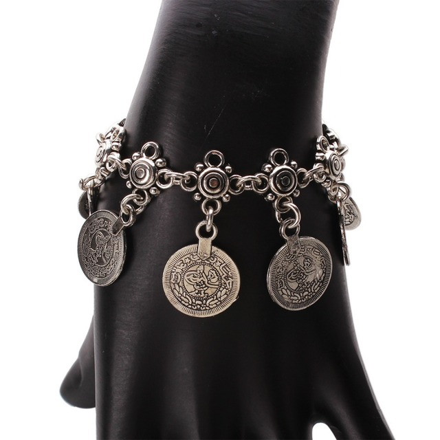 Gypsy Antique Silver Turkish Coin Anklet Ankle Bracelet Beach Foot Jewelry