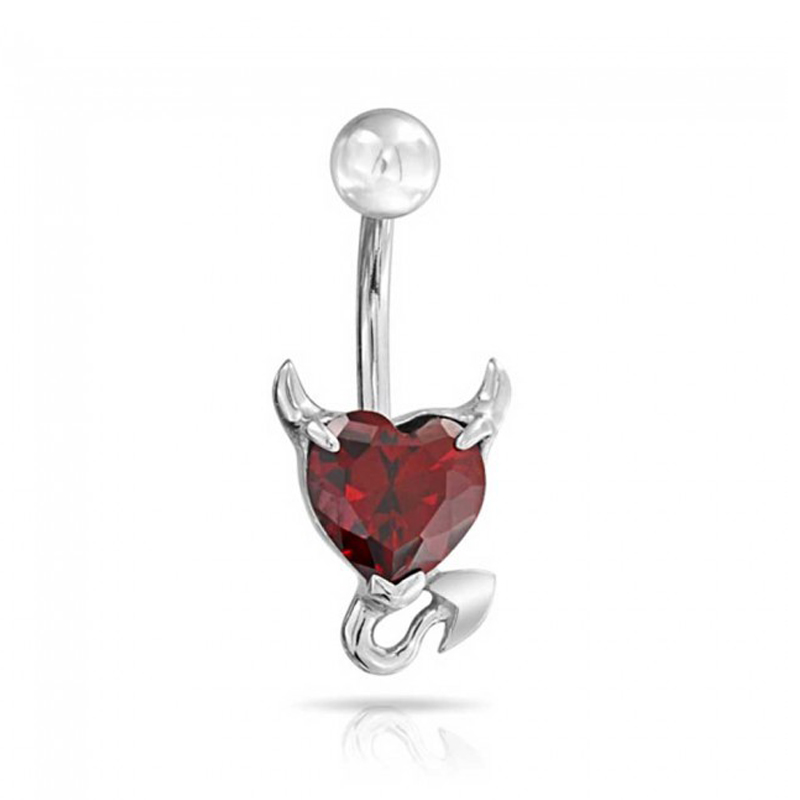 Body Jewelry Steel Belly Button Rings 14G Zircon Crystal Devil Heart Navel Piercing Rings Stud Piercing Tragus Unisex
