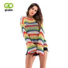 GOPLUS Womens Knitted Sweater O Neck Autumn Pullovers Loose Flare Sleeve Colorful Striped Pullover Coat kleding vrouwen C9503