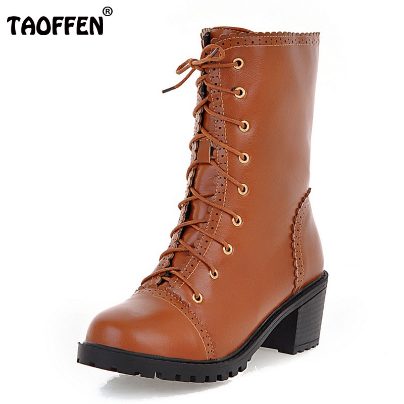 TAOFFEN Women Mid Calf Boots Bowtie Cross Strap High Heel Boots Women Fur Shoes For Winter Snow Botas Women Footwears Size 34-39 taoffen size 30 52 russia women round toe height increasing mid calf boots woman cross strap warm fur winter half shoes footwear