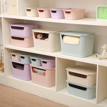U-shaped open Storage Box, plastic with lid snack storage, household clothes, toy and book,Back-to-College dorm room storage box