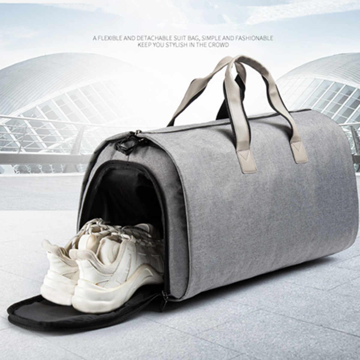 2 em 1 Novas Grandes Mulheres de Capacidade Viajar Saco de fim de Semana Homens Fitness Formação Sapatos Bagagem Duffel Tote Lazer Bolsa De Armazenamento