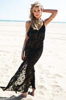 Fashion Boho Summer Style Asymmetry Beach Black Lace Maxi Dress Plus Size Women Summer Dresses Easy