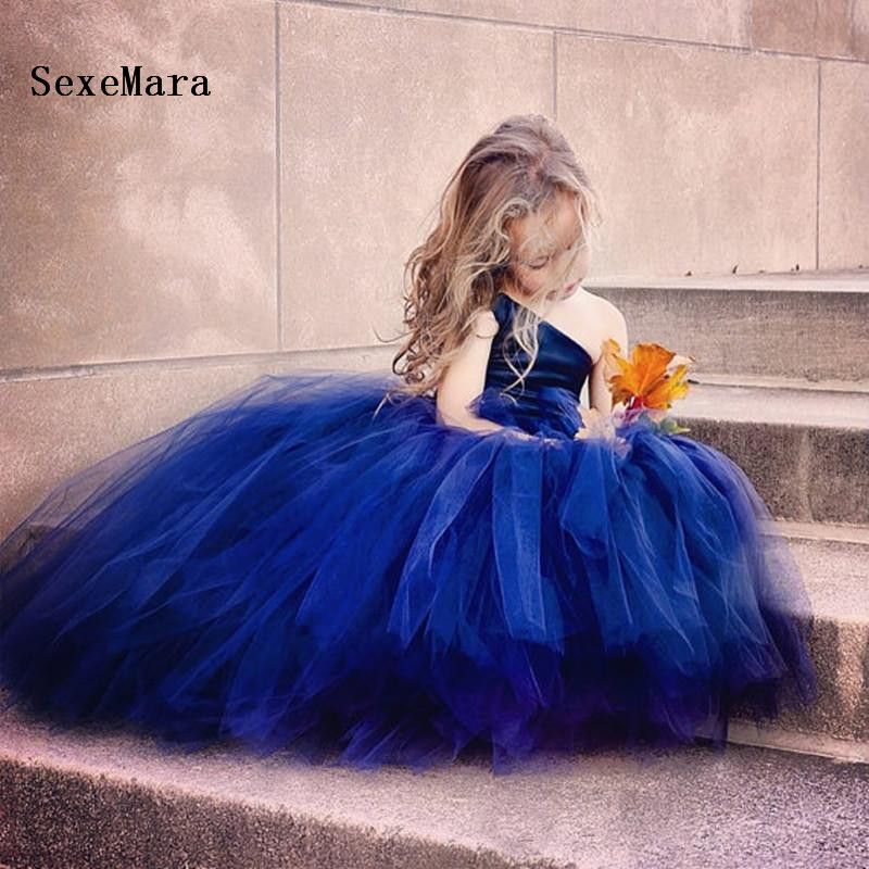 Royal Blue Flower Girl Dresses One Shoulder Puffy Tulle Cupcake Pageant Gowns Lace Up Back Girls Birthday Dress Size 2 14Y