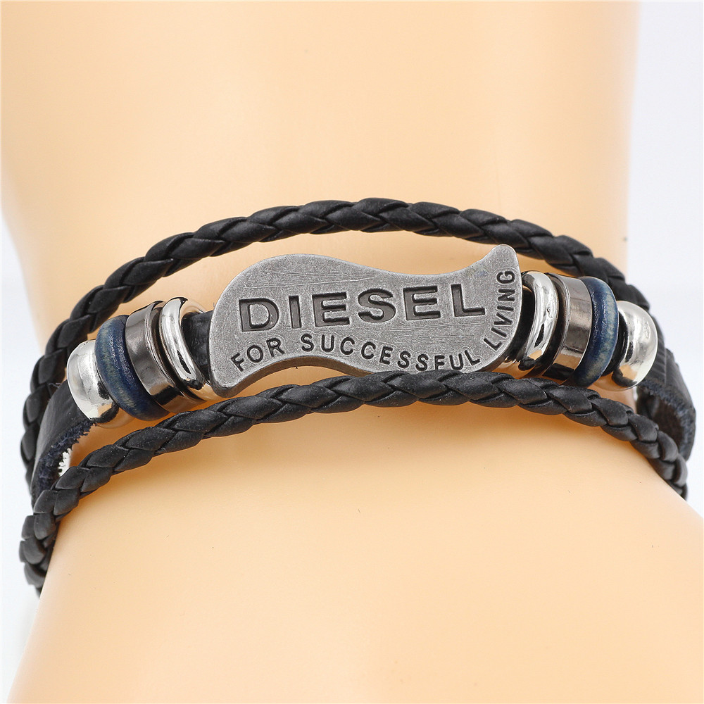 Bracelet Stainless-Steel Anchor Brown Vintage Genuine-Leather Women Fashion for Gift