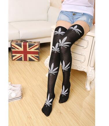 10pairs/lot free shipping korean style lady high over the knees stockings 4 Pattern Colors Leaves casual Women Stockings