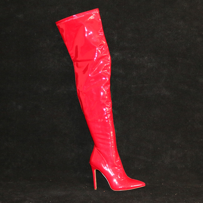 Beautiful red patent leather thigh high boots pointed toe woman high heel boots winter over the knee thin heels boots black beautiful red patent leather thigh high boots pointed toe woman high heel boots winter over the knee thin heels boots black