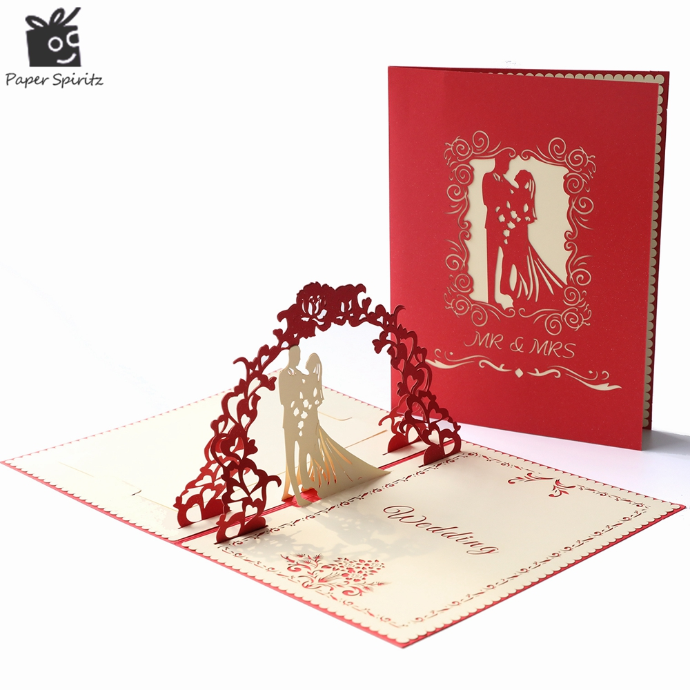 Wedding Invitations Greeting Cards 10pcs Laser Cut Customizable Printing Elegant Cheap Red Vintage Rustic 3D Card With Envelope