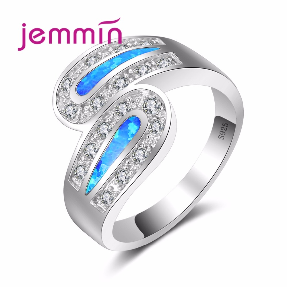 Jemmin New Intersect Style Ring Inlaid Full White Crystal and Blue Opal 925 Sterling Silver Ring for Women Noble Gift