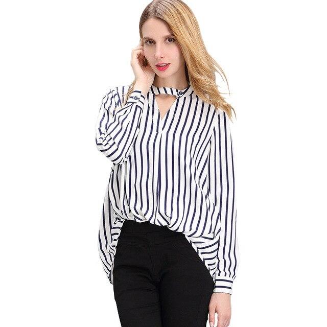 Chemise de femmes 2017 Polyester Bleu Noir Rayures En Mousseline de Soie  Chemisier Rayé Sexy Chemises