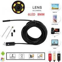 2IN1 Android Endoscope 8MM Lens 2M 5M 10M HD Tube Pipe USB Endoscopio IP67 Camera Borescope