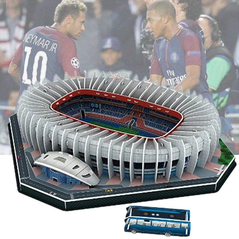 Classic Jigsaw 3D Puzzle Architecture Stadio France Parc Des Princes Football Stadiums Toys Scale Models Sets Building Paper