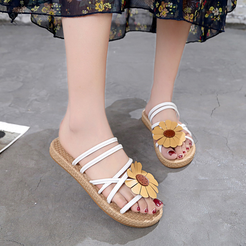 Fashion Women Sandals Slippers Shoes For Female Open Toe Flower Flat Heel Anti Skidding Beach Shoes Sandals Slipper Gladiator summer flat sandals female gladiator sandals basic slippers stripe flat heel anti skidding beach shoes sandalias