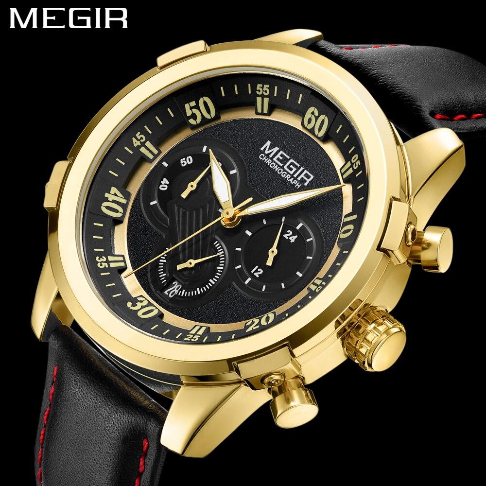 MEGIR Gold Luxury Famous Top Brand Men Golden Watch Chronograph 24 Hours Relogio Masculino Military Analog Quartz Wristwatch Men l 10 women s stylish petals style bracelet quartz analog wristwatch golden white 1 x lr626