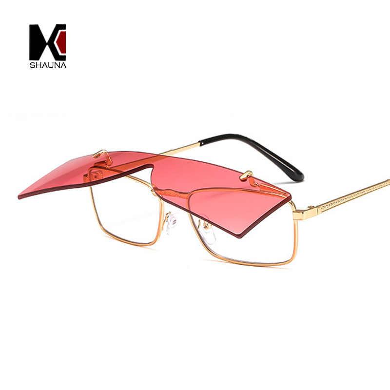 82186eb843 SHAUNA Double Lens Folding Steampunk Sunglasses European American Fashion  Retro Rimless Integrated Lens Candy Colors Sun