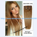 6A Brazilian Virgin Clip in Human Hair Extensions Silky Straight Hairia Luxury Hair #16 Honey Blonde 7pcs 120g 20inch