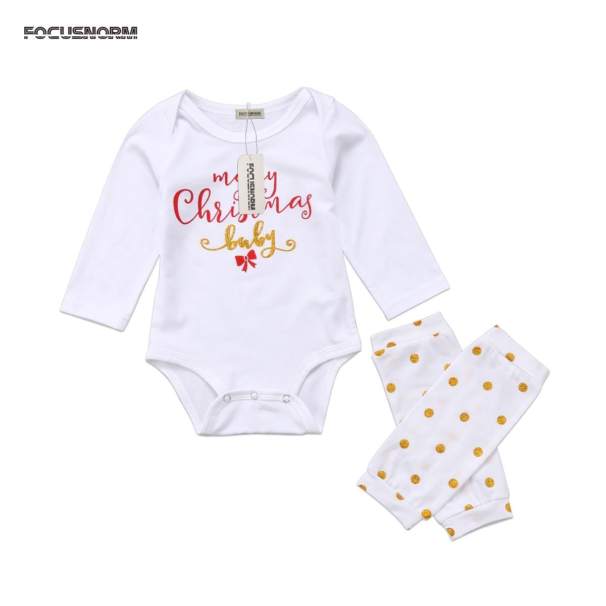 Leuke Pasgeboren Baby Jongens Meisje Kerst Kleding Brief Print Lange Mouw Wit Romper Gouden Stippen Beenwarmers Winter Outfit Set 2018