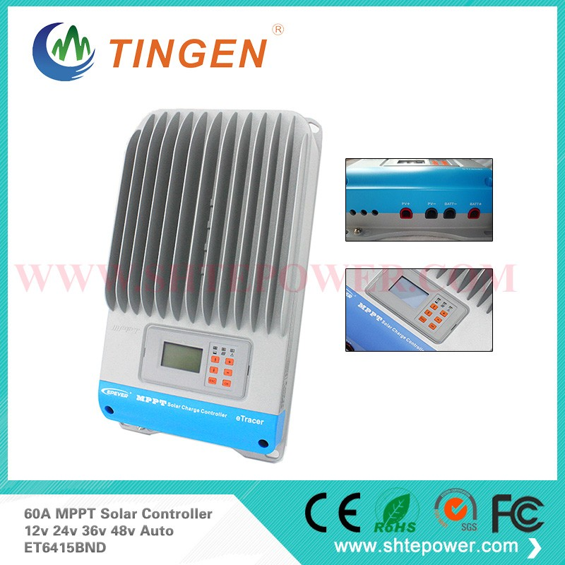 60A MPPT Solar Charge Controller EP eTracer ET6415BND 12V 24 V 36V 48V auto work mppt solar charge controller 60a 12v 24v 48v automatic recognition 60a mppt solar charge controller