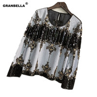 French catwalk palace Bling glitters shirts blouses Runway Celebrities Sequined blouses beaded Shirt blouse blusa camisa