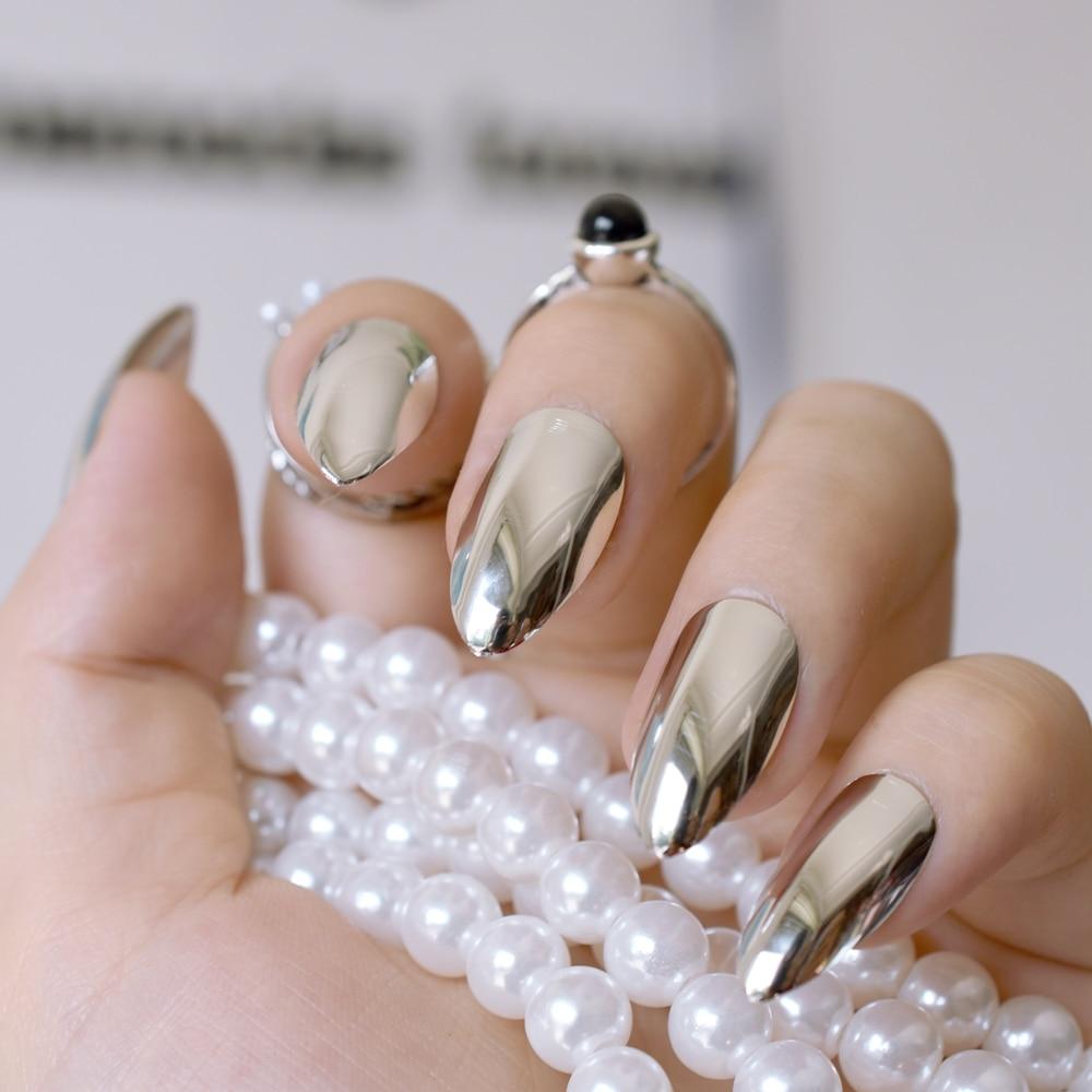 Silver False Nails Stiletto Metallic Shiny Bling Fake Nail Tips Mirror Chrome Artificial Nail Tips Health & Beauty