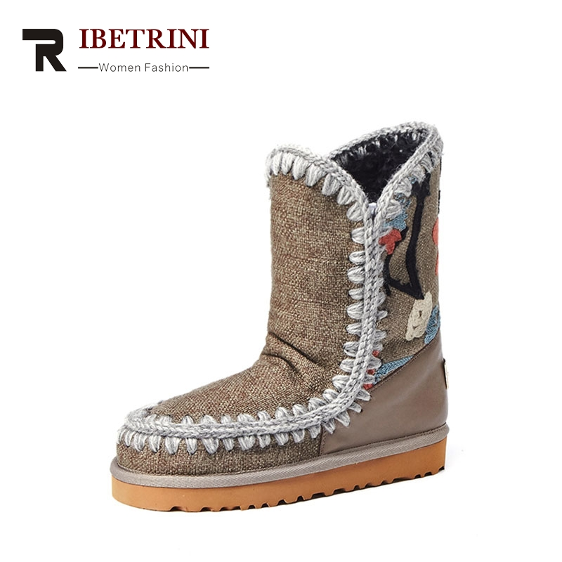 RIBETRINI 2017 Winter Fashion Denim Platform Ankle Snow Boots Sewing Warm Fur Slip-On Low Wedges Women Shoes Large Size 33-43 mcckle female winter warm plush ankle snow boots 2017 women fashion lotus leaf side fur slip on platform solid style shoes