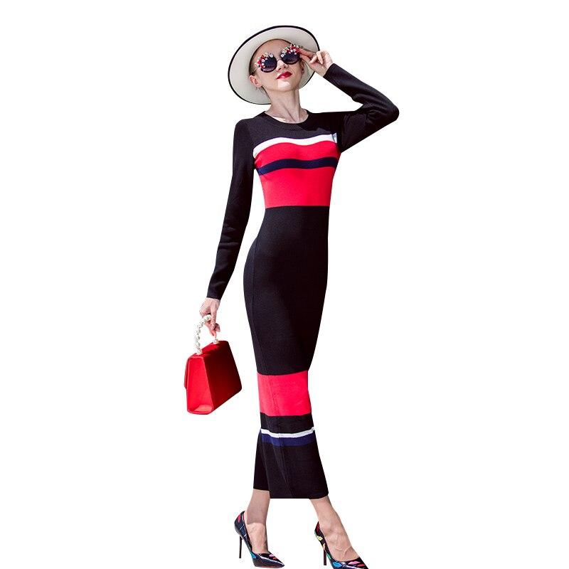 DF Automne Laine Rayé Longue Robe Crayon Élastique Noir Rouge Plus La Taille Manches Longues Robes 6220