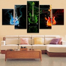 5 Pieces Top-Rated HD Printing Painting Music Abstract Water And Green Fire Guitar Poster For Modern Home Decorative Bedroom