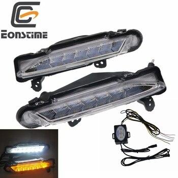 Eonstime For Toyota Yaris 2017 2018 2019 12V LED DRL Daytime driving Running Light fog lamp Turn Signal style Relay Waterproof