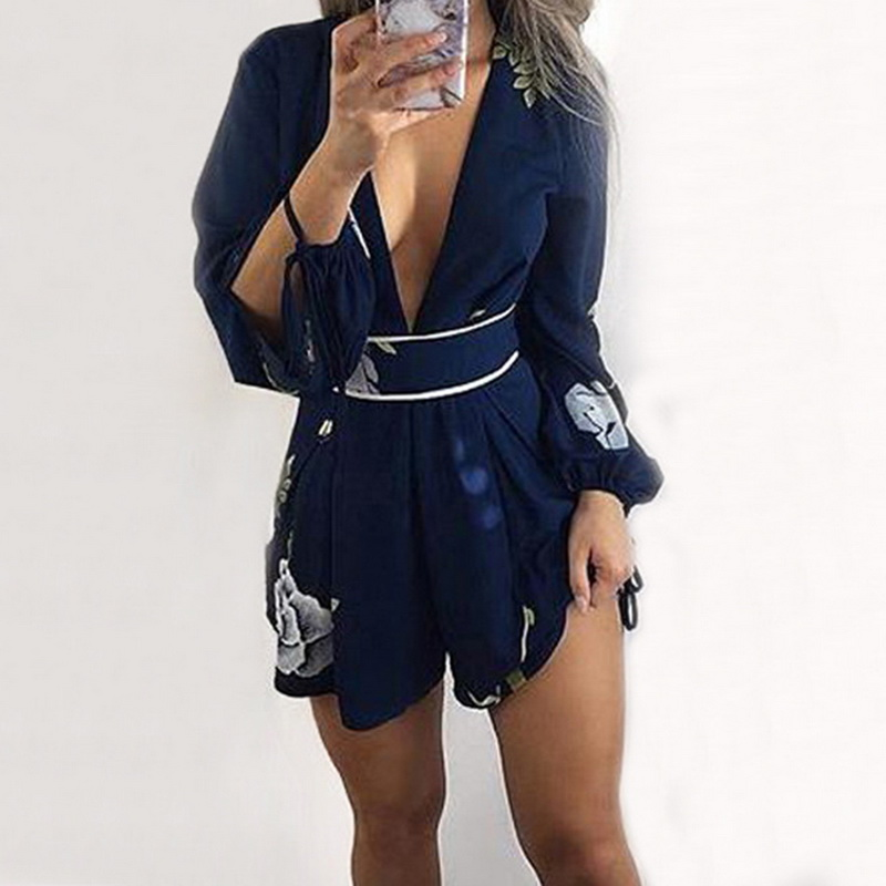 LASPERAL Women Bodysuit Sexy Backless V-neck Hollow Out Summer Beach Playsuit Long Sleeve Cool Elegant Romper Overalls for Lady