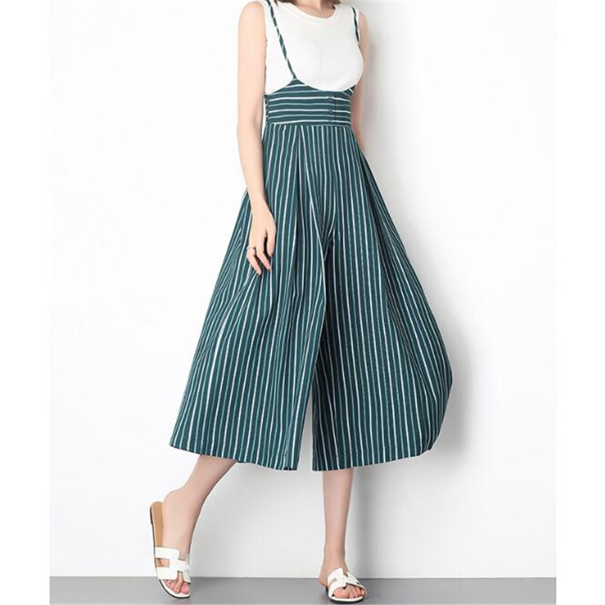 MLCRIYG Overalls Broad leg High waistline leisure New pattern Camisole stripe Nine points pants