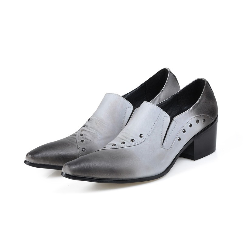 Sepatu pria mens shoes hidden high heels spiked studded loafers pointed toe dress oxford shoes for men male in Formal Shoes from Shoes