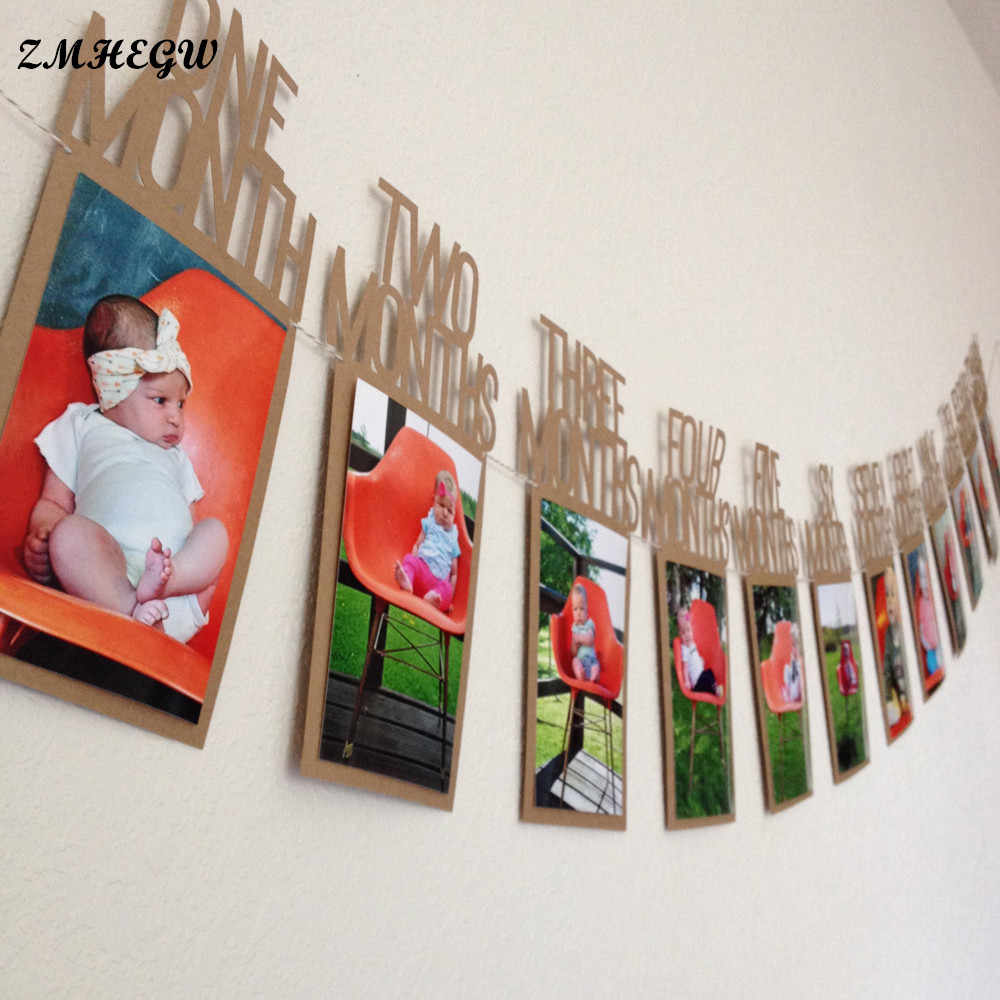 New Hot 12PCS 14X23cm  Kids Birthday Gift Decorations 1-12 Month Photo Banner Monthly Photo Wall Picture Frame Paper