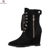 Intención Original Nuevo de Alta Calidad Mujeres Sexy Botines Punta estrecha Cuñas Botas Elegante Negro Mujer Zapatos de Tamaño EE.UU. 3.5-13
