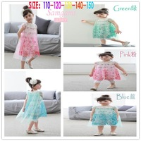 High Quality 2015 New Fashion Girls Cotton Snowflake Dress Summer Girl Elsa Dress Children S Casual