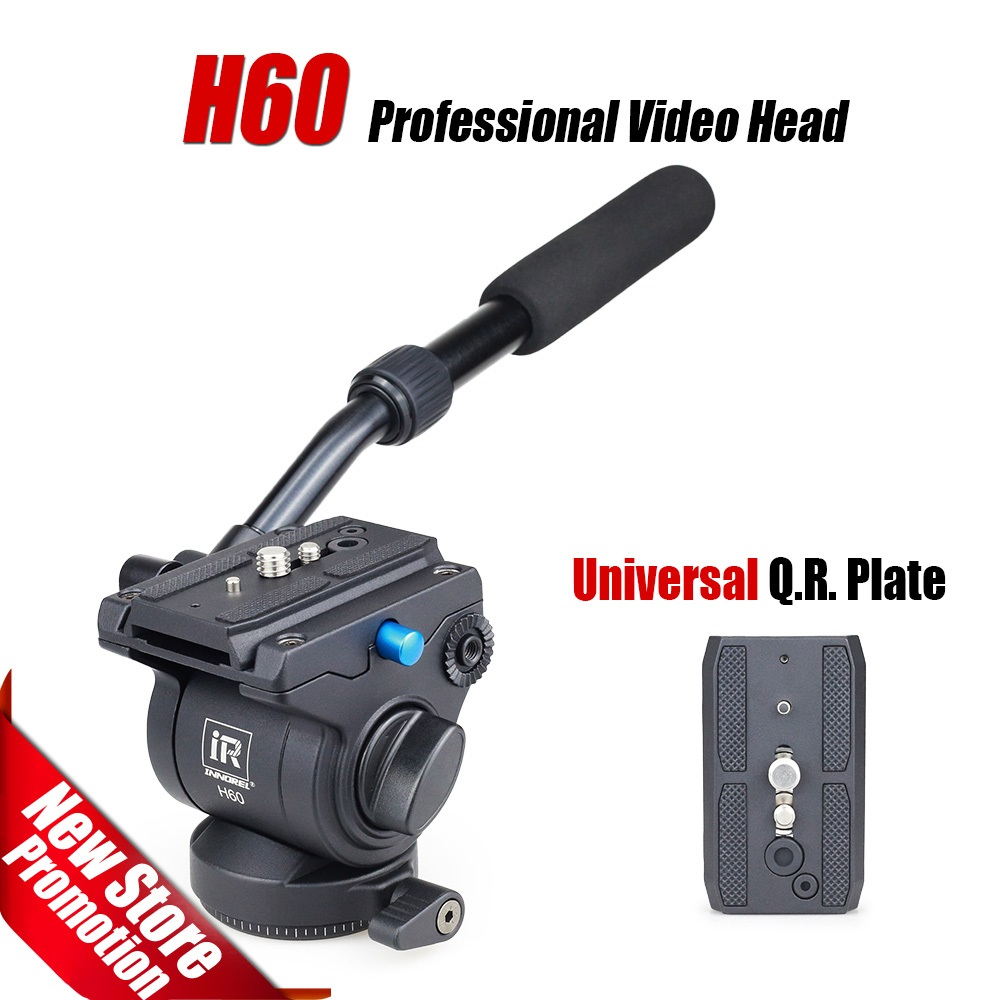 H60 Professional video tripod head Panoramic Hydraulic Fluid monopod head Manfrotto 501PL plates compatible Better than JY0506H сумка manfrotto professional holster plus 30 mp h 30bb