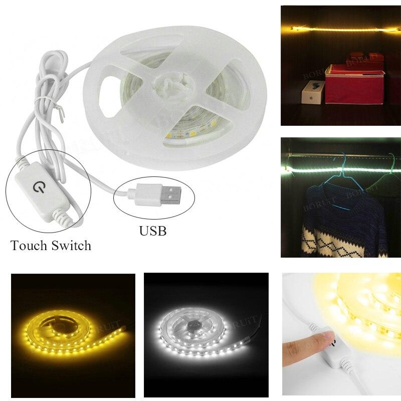 BORUiT 1m 60 tira de LED bajo la luz del Gabinete para la cocina dormitorio armario tira de luz táctil lámpara de noche Conjunto de cortinas de terciopelo rojo para dormitorio de lujo de diseño europeo cortina de Valance para sala de estar bordado de tul