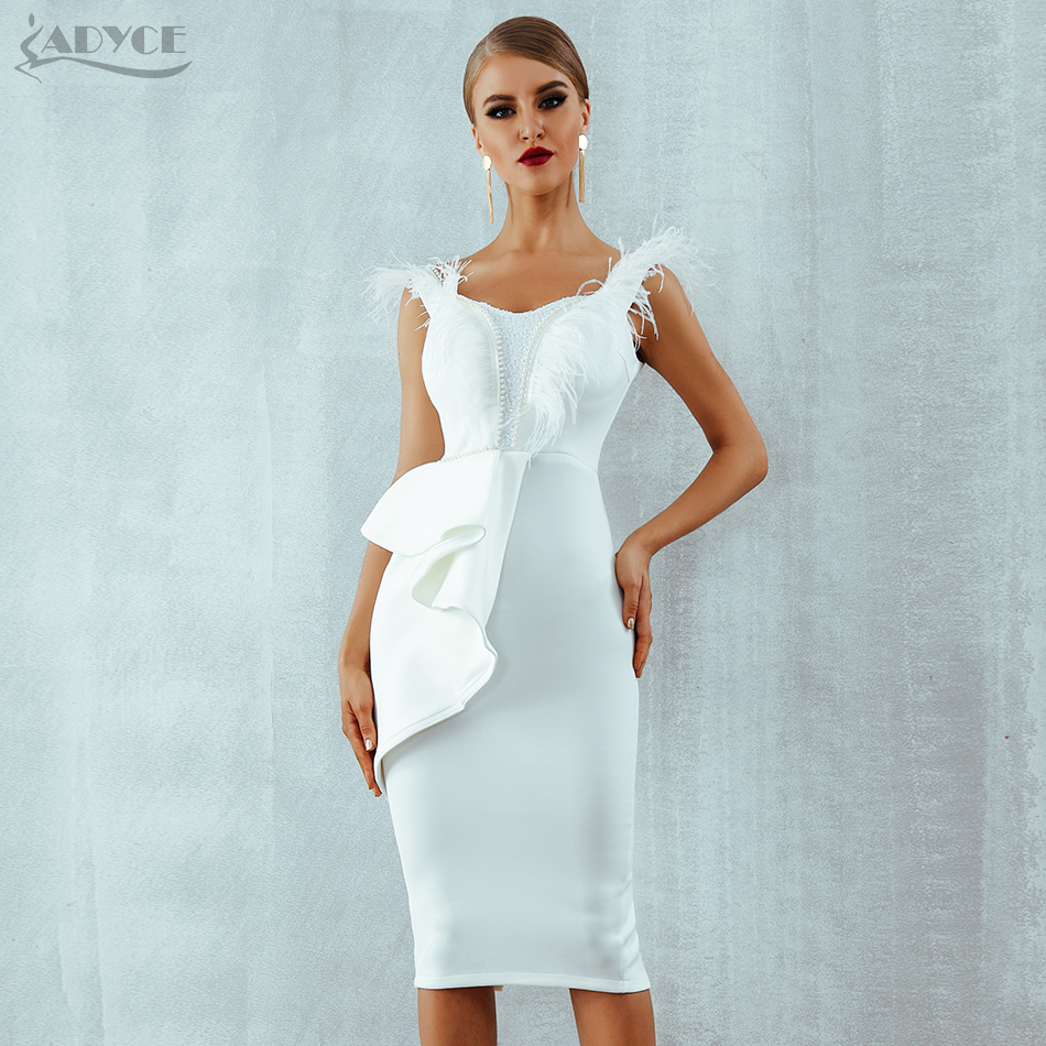 ADYCE 2019 New Summer Women White Party Dress Black Short Sleeve Sexy Feather Pearl Runway Celebrity