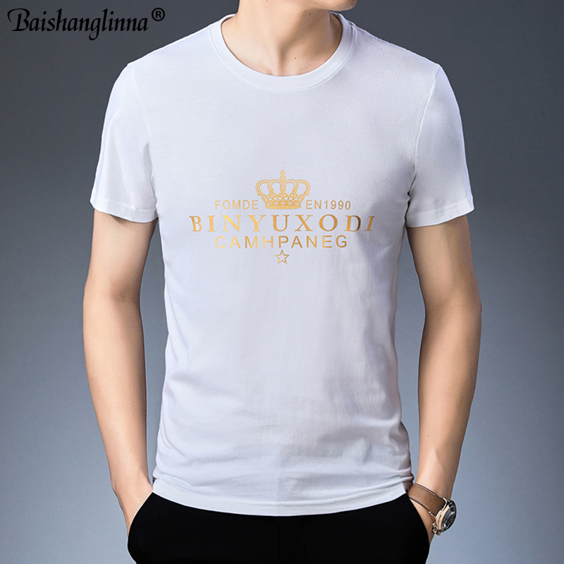 Baishanglinna Spring Summer Short Sleeve Tee Shirt Men Casual O-Neck T-Shirt Men Pure Cotton Top Homme Brand Clothing S - XXXXL 3