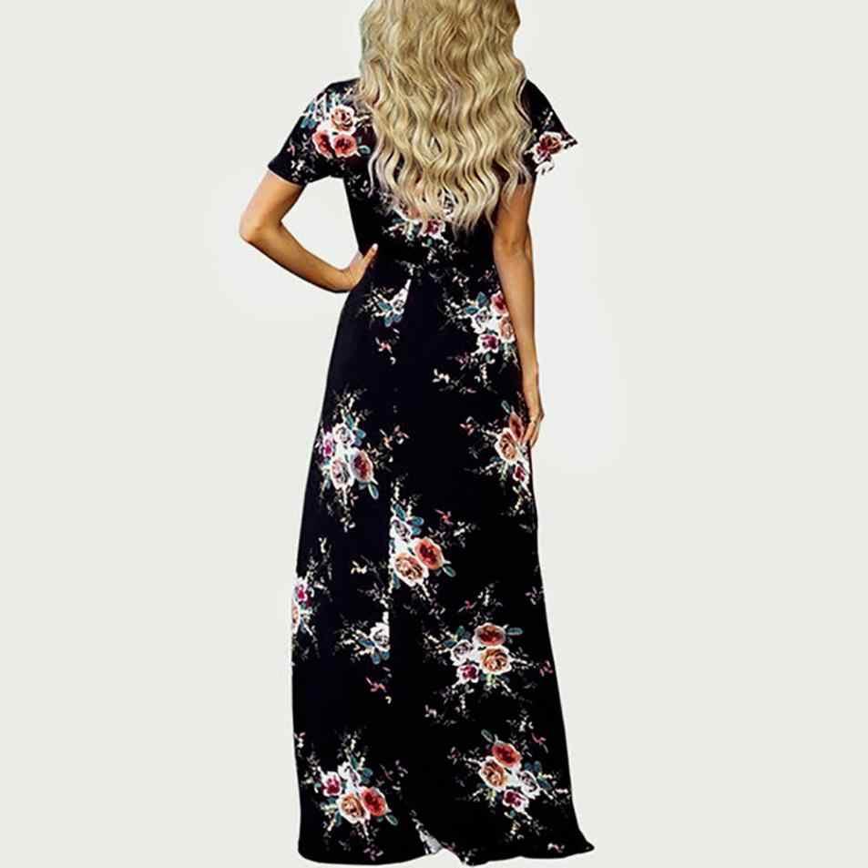8d84506f73b ... Women Maxi Boho Floral Printing Long Maxi Dress Ladies Short Sleeve  Beach Party Dress Summer V ...