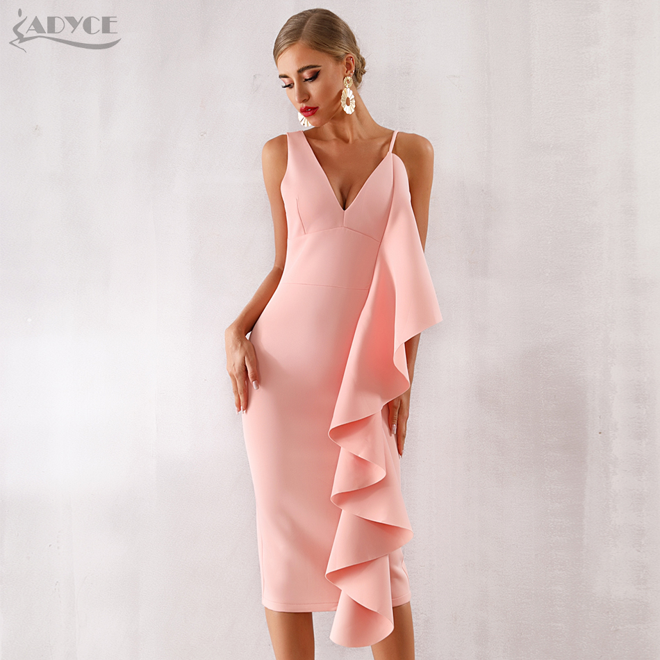 Adyce New Summer Women Pink Celebrity Evening Runway Party Dress Vestidos 2019 Sexy Sleeveless Ruffles White Bodycon Club Dress in Dresses from Women 39 s Clothing