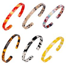 Fashion Women Bracelets Acrylic Sheet Open Bracelet Simple Narrow Black White Marble Style Jewelry New