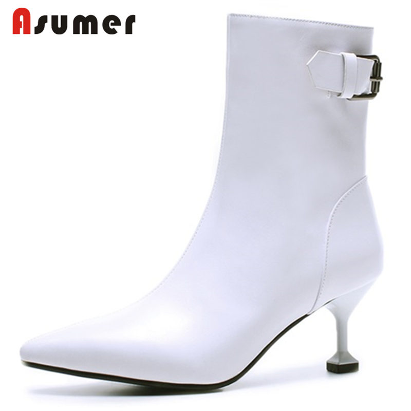 ASUMER 2018 NEW fashion buckle zipper ankle boots women pointed toe genuine leather boots stiletto heels spring autumn boots european style autumn genuine leather fashion ankle boots round toe zipper belt buckle high heels motorcycle boots women boots
