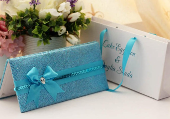 Ribbon Wedding Invitations: 100pcs/lot Wedding Cards With Bag Pack Wedding Invitation