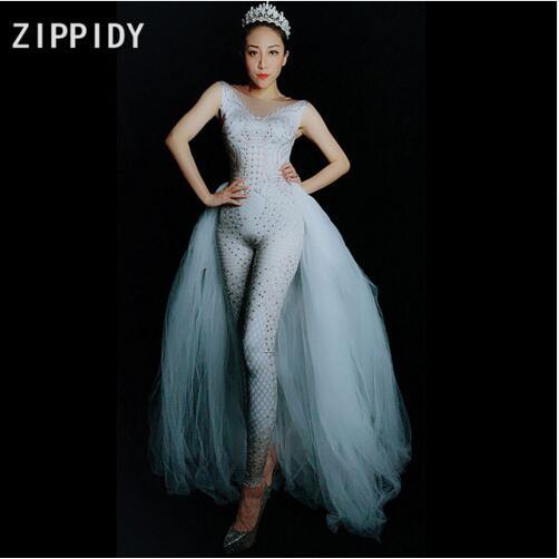Femmes De Chanteur Outfit Queue Célébrer Strass Maille Anniversaire Mode Spandex Blanc Danse Ehite Salopette Leggings 8n0OwPXk