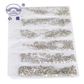 Gevşek ütüyle yapışmayan kristal Rhinestones Giyim Mix Boyutları Renkli Yapay Elmas Dekorasyon Cam Flatback Tırnak Rhinestones S035
