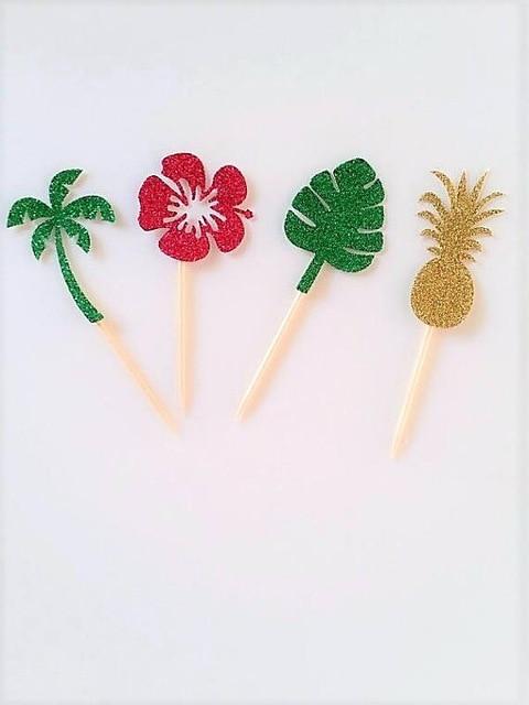 Glitter Hawaiian Wedding Birthday Cupcake Toppers Moana Luau Party Cake Decoration Doughnut Food Toothpicks