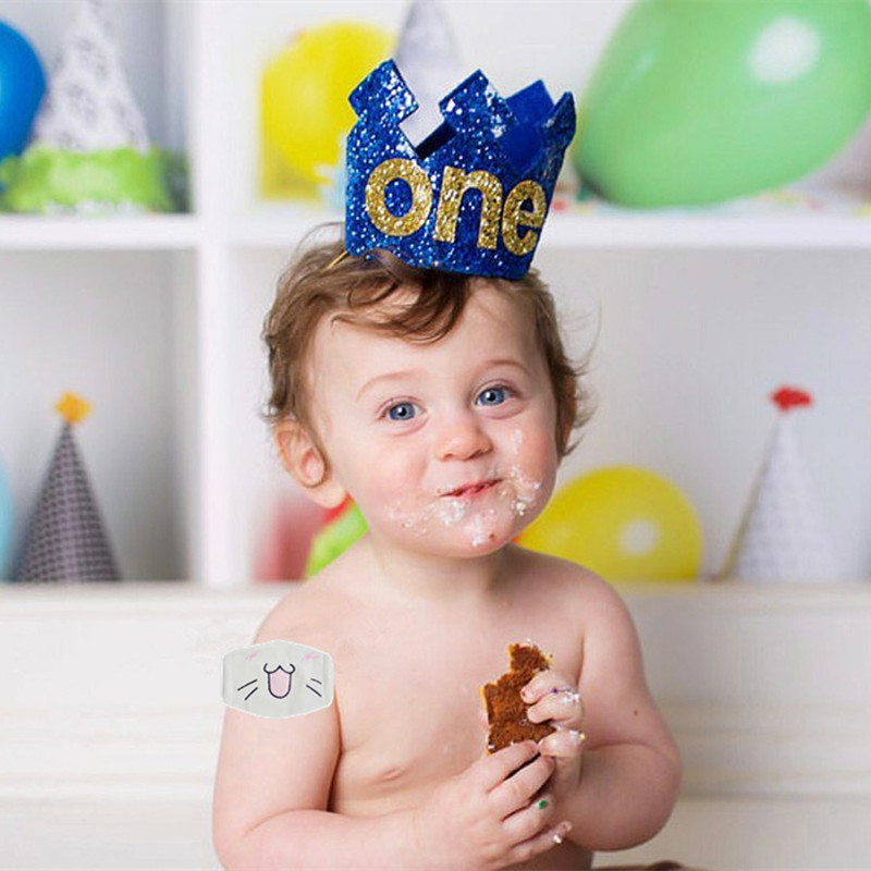Gold Blue Baby 1 2 3 Year Old Birthday Hat Glitter Prince Crown Boy Shower 1st Party Decoration Photo Props In Hats From Home